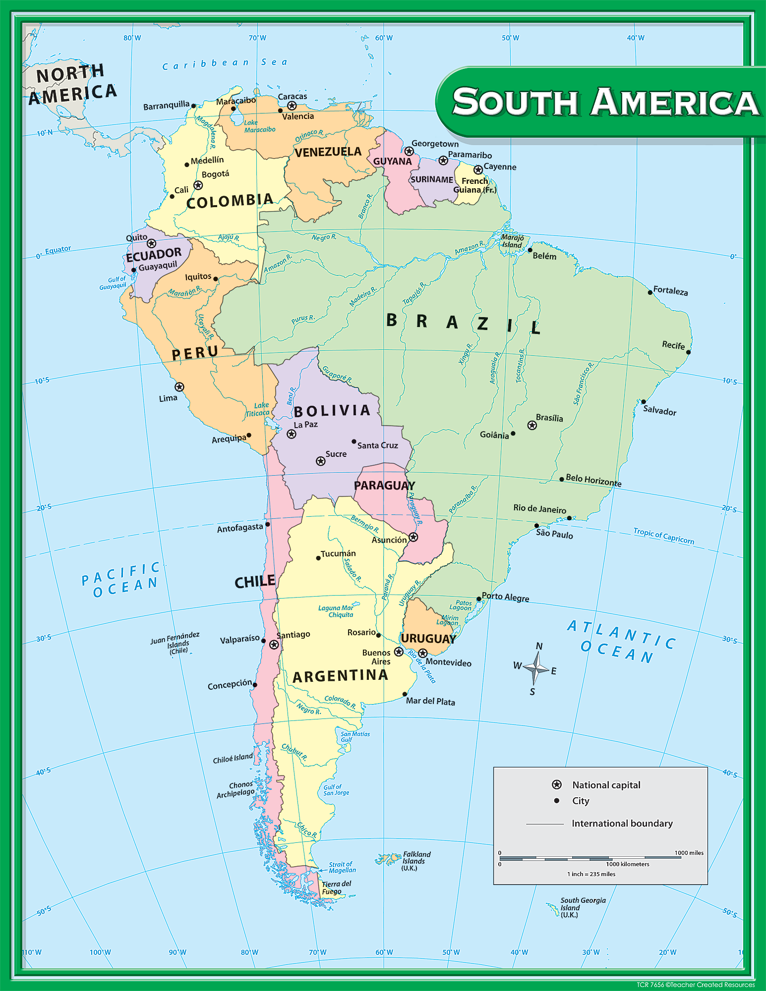 America South America Map.South America Map Chart Tcr7656 Teacher Created Resources