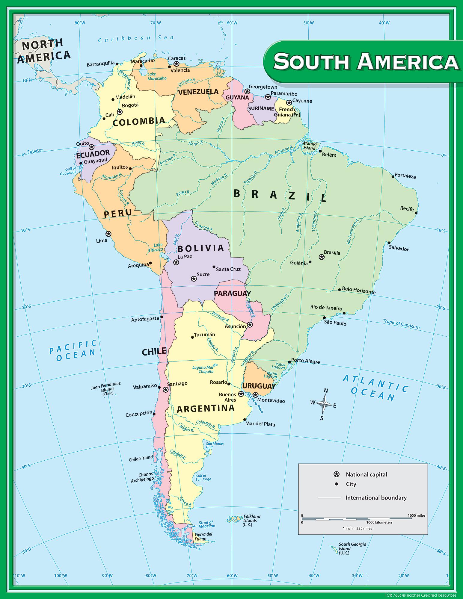 America South America Map.South America Map Chart Tcr7656 Teacher Created Resources