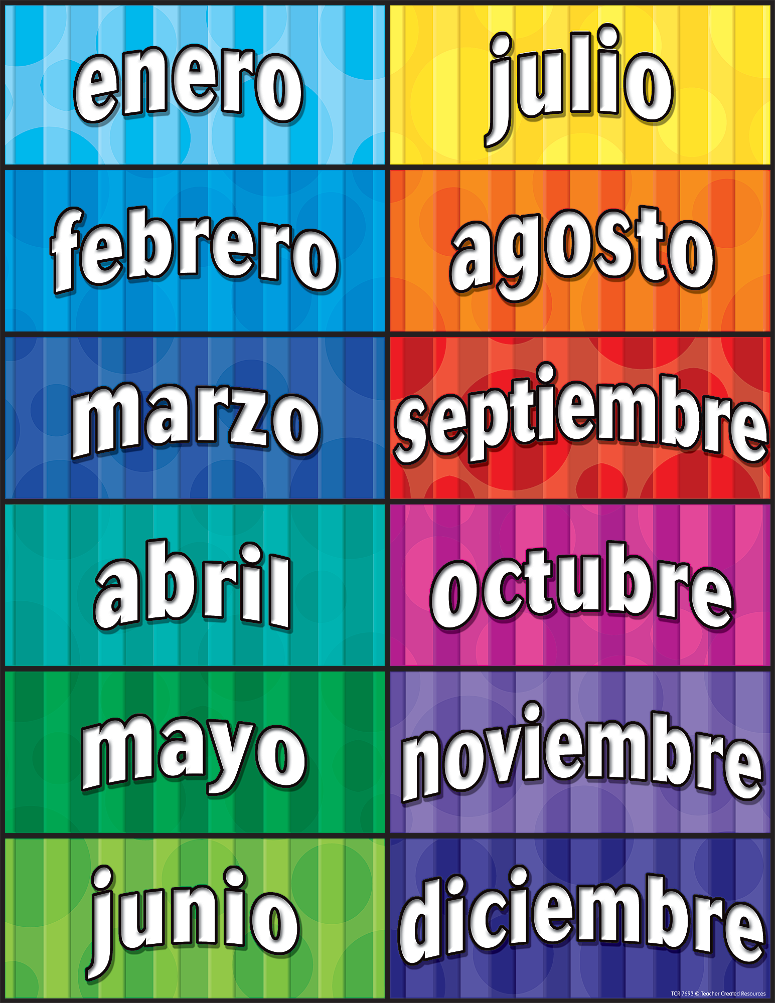 months of the year spanish chart tcr7693 teacher created resources