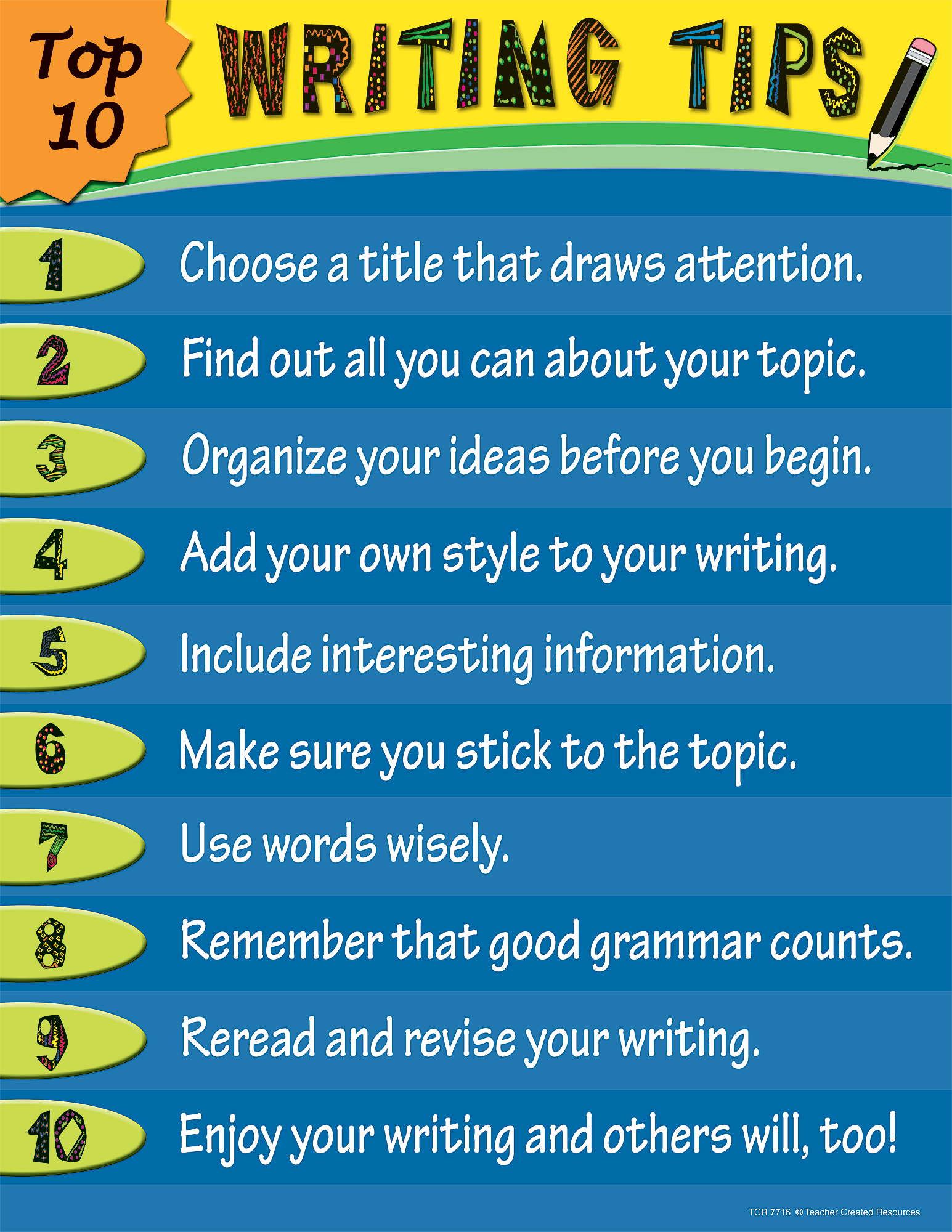 Top 10 Writing Tips Chart - TCR7716