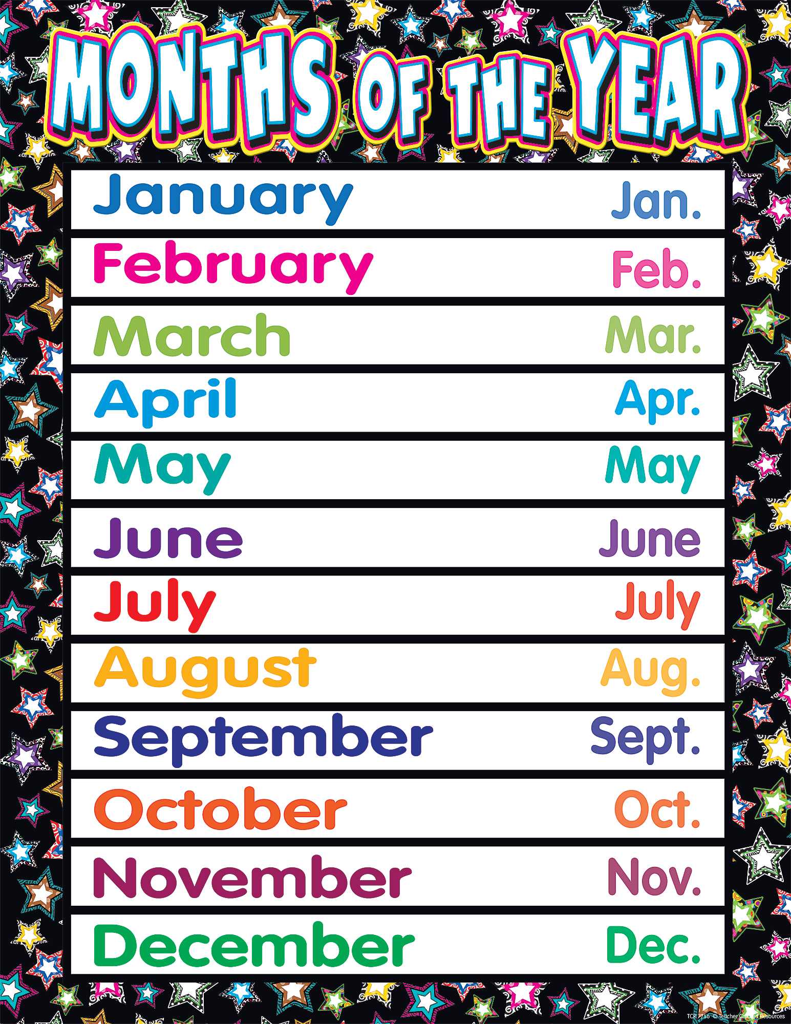 fancy stars months of the year chart tcr7756 teacher created